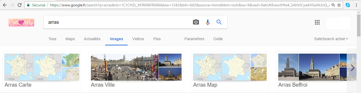 Le Slider de l'interface Google images