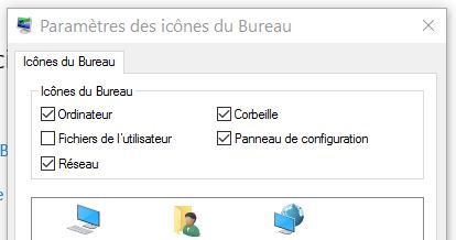icônes du bureau Windows 10